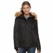 S13 Womens Black Down Fur Hooded Winter Dani Bomber Jacket Coat L NWT