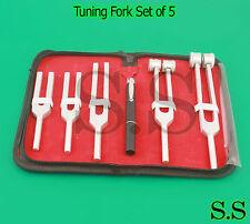 Tuning Fork Set of 5 - Medical Surgical Diagnostic instruments+ FREE PEN LIGHT