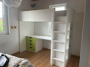 SMÅSTAD Hochbett, weiß grün/mit Schreibtisch 4 Schubladen90x200 cm