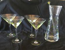 New listing 6 pc Etched Olive Martini set—Pitcher, Stirrer, 4 Glasses Mint