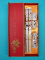 Gift Set of Chinese White  Porcelain Chopsticks with Red Plum Pictures