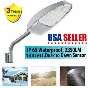 Outdoor 144LED Street Light Dusk to Dawn Sensor Waterproof Security Light 2350LM