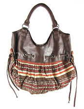 Hand Bag - Women's Brown Faux Leather and Multi-Color Retro Styled Pocket Book