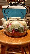 Vintage Cast Iron Kettle Tea Pot with a beautiful painted Farm scene