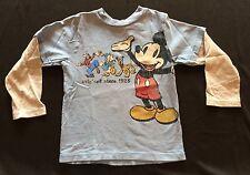 Disney Mickey Mouse T Shirt Sz 4T Blue LS - Donald Goofey Pluto - Distressed