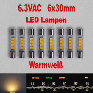 8x Vintage Stereo LED Lampen Warmweiß AC6.3Vrms Hintergrundbeleuchtung
