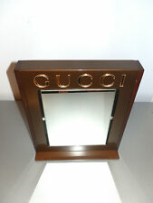 BEAUTIFUL AUTHENTIC GUCCI BRONZE GOLD TABLE MIRROR WITH METAL BASE MADE IN ITALY