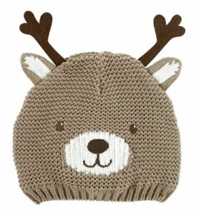 Carters Reindeer Hat for Boys  3-9 M  Lined Knit New