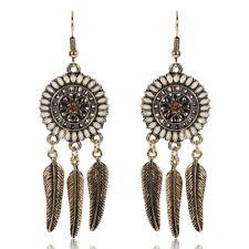 BOHO GYPSY FEATHER DANGLE DROP EARRINGS Bohemian Ethnic Tribal Jewellery Gift