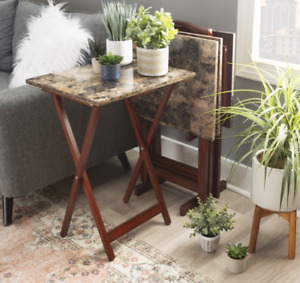 Linon 5-Piece Wood and Faux Marble Folding TV/ Snack Tray Table Set, Brown Color
