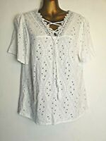 Falmer Heritage 12 White V neck Short Sleeve Broderie Anglaise lace trim Blouse