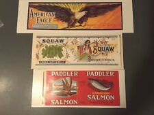 3 VINTAGE LABELS~Squaw Brand Peas~American Eagle & Paddler Brand Canadian Salmon