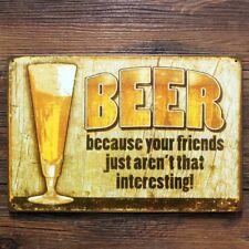 Targa birra  beer because stampa metallo vintage retrò pub bar poster arredo