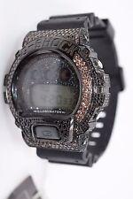 Genuine Casio G - Watch With Custom Crystal Bezel  DW-6900 Shock Black