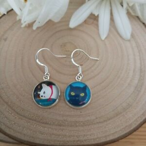 Quirky cat glass cabochon earrings. Sterling silver 925 earring hooks.Gift boxed