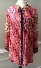 Soft Surroundings Brynn Button Down Shirt Paisley Velvet Trim Blouse Sz Petite M