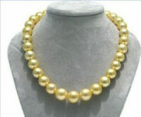 """18"""" AAA+ 8-9MM SOUTH SEA GOLD NATURAL PEARL NECKLACE 14K YELLOW GOLD CLASP"""