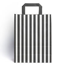25 x Black Candy Stripe Paper Party Gift Bags with Handles 18cm x 23cm + 8.5cm