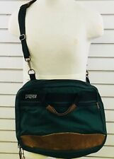Vintage Jansport Messenger Bag Green Leather Trim Made USA Soft Side Briefcase
