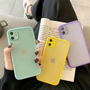 Hybrid Simple Matte Bumper Phone Case for Apple Iphone Shockproof Soft Silicone