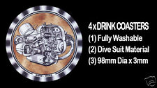 4 x BMW BOXER ENGINES R69S, MOTORCYCLE MOTOR CYCLE DRINK COASTERS - Re-usable