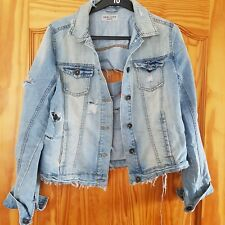 New Look Womens Light Blue Ripped Denim Jacket Size 14