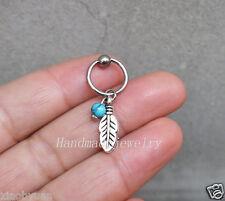 2pcs Turquoise Cartilage Hoop Silver Leaf Boho Tragus Helix Piercing