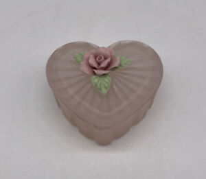 Vintage Frosted Glass Heart Trinket Box