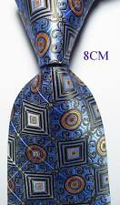 New Geometric Sky Blue Brown Orange JACQUARD WOVEN 100% Silk Men's Tie Necktie