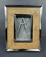 """POTTERY BARN Chrome & Wood Easel Back or Hanging 4"""" x 6"""" Picture Frame EUC"""