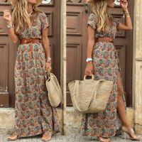 Womens Boho Floral Wrap V Neck Maxi Dress Sundress Summer Holiday Beach Ladies