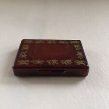 Vintage Compact Tissue Holder with Mirror ~ Tortoise Shell w/ Gold Rose Trim