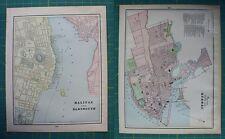 Dartmouth Quebec Canada Vintage Original 1899 Cram's World Atlas Map Lot