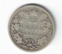 CANADA 1887 TWENTY FIVE CENTS QUARTER VICTORIA 925 SILVER COIN
