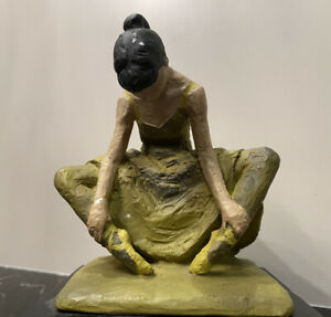 Vintage Fred Press Sculpture of Ballerina on Wooden Base Hand-Painted