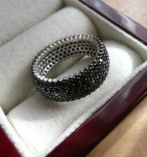 SPARKLING BLACK CUBIC ZIRCONIA 925 STERLING SILVER BAND THUMB RING SZ L 6