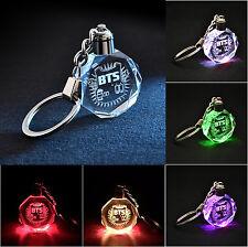 Fine Gift Colorful Crystal Pendant LED Keyring KPOP BTS Bangtan Boys Keychain