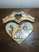 Vintage 90s Wooden Tole/Folk Hand Painted WELCOME Door/Wall Plaque Signed