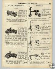 1926 PAPER AD Toy Pedal Car Willys Knight Blue Steak Lincoln Chemical Fire