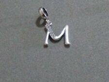 Genuine Sterling Silver Sparkling Letter M Dangle Charm S925 stamped