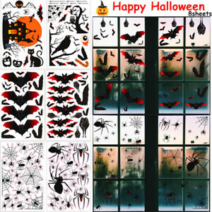 8 Sheets Halloween Horror Stickers Window Clings Haunted House Party Decorations