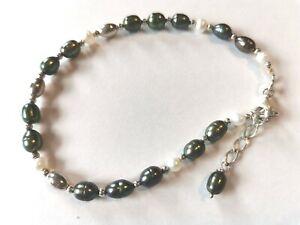 Sterling Silver & Green Pearl Bracelet - used