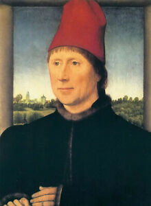Oil painting hans memling - portrait of a man & red hat hand painted canvas art