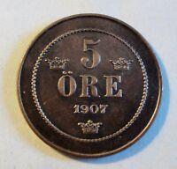 Sverige / Sweden / Schweden - 5 Öre 1907 - Cu - Oscar II - stgl - / unc erhalten