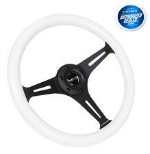 """NRG 350mm Steering wheel 2"""" Deep White wood with Black 3 Spoke ST-015BK-WT"""