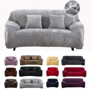 VELVET Elastic STRETCH SOFA COVERS Slipcover Protector Settee 1/2/3/4 Seater UK