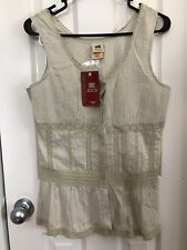 Women's FADED GLORY Tunic Cami w/ Lace, S, Solid Tan, NWT