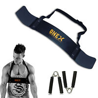 OneX Fitness Bicep Isolator Arms Blaster Bomber Weight Lifting Gym Strap+Gripper
