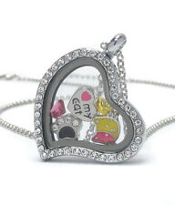 "ORIGAMI-STYLE Cat Lover I Heart My Cat Floating Charm Heart Locket 24"" Necklace"