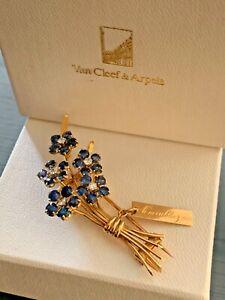 Van Cleef & Arpels Forget Me Not Blue Sapphire Flower Brooch 18k Yellow Gold